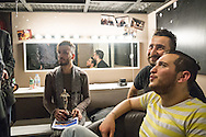 Omar and Nader, right, in the dressing room after the Mr Gay Syria competition, with winner Hussein Sabat, left. The competition was held in Istanbul, Turkey in February 2016