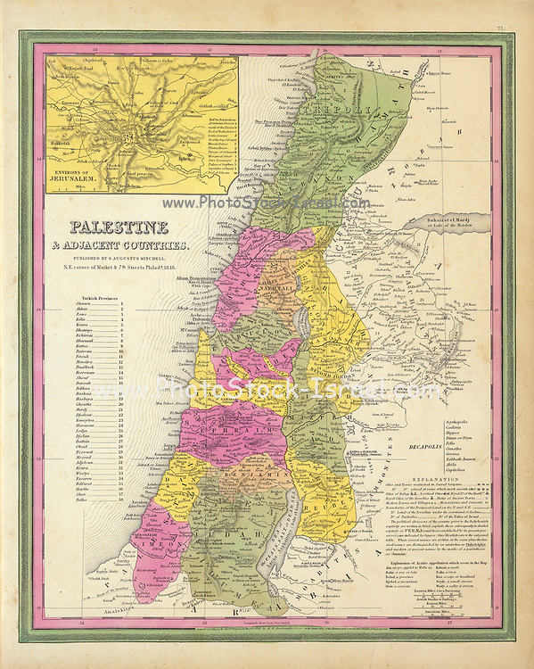 Ancient map of Palestine & Adjacent Countries. by Mitchell, Samuel Augustus Published in 1846 In full color by region with Turkish Provinces numbered and listed. Palestine & Adjacent Countries. (with) Environs of Jerusalem. Published By S. Augustus Mitchell, N.E. Corner of Market & 7th Street Philada., 1846. Entered 1846 by H.N. Burroughs Pennsylvania.