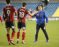 Paul Hurst and Gary Deegan Ivan Toney of Shrewsbury Town during the Sky Bet League 1 match at The Den, London<br /> Picture by Richard Brooks/Focus Images Ltd 07947656233<br /> 10/12/2016
