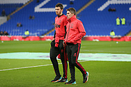 Michel Carrick and Kieran McKenna in warm up during the Premier League match between Cardiff City and Manchester United at the Cardiff City Stadium, Cardiff, Wales on 22 December 2018.