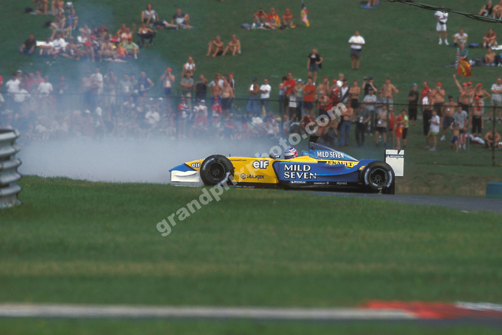 Jenson Button (Renault) spins during practice for the 2002 Hungarian Grand Prix at the Hungaroring. Photo: Grand Prix Photo