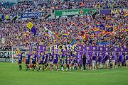 MLS Game, Orlando City v San Jose Earthquake, Orlando City dedicate match to Pulse nightclub Shootings In Orlando.  <br /> 06-18-16.<br /> Orlando's team come out before the game . <br /> Orlando, Florida, USA.<br /> Picture  Mark Davison for DailyMail.com<br /> Saturday 18th June 2016.