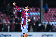 Levi Sutton of Scunthorpe United (22) thumbs up after scoring and winning 2-1 during the EFL Sky Bet League 1 match between Scunthorpe United and Coventry City at Glanford Park, Scunthorpe, England on 5 January 2019.