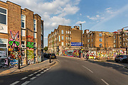 Artist studios in graffiti covered street in Hackney Wick during the coronavirus pandemic on the 7th May 2020 in London, United Kingdom.
