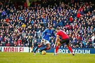 Rangers Glen Kamara takes the ball by Gary Dicker of Kilmarnock during the Ladbrokes Scottish Premiership match between Rangers and Kilmarnock at Ibrox, Glasgow, Scotland on 16 March 2019.