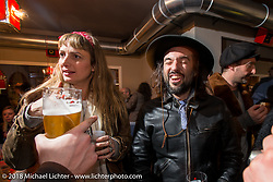 David Borras of El Solitario MC at the Mr. Martini Friday night party celebrating the opening of his bar / restaurant at the workshop during the Motor Bike Expo. Verona, Italy. January 22, 2016.  Photography ©2016 Michael Lichter.