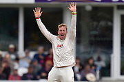 Simon Harmer of Essex unsuccessfully appeals for an lbw against James Hildreth of Somerset during the Specsavers County Champ Div 1 match between Somerset County Cricket Club and Essex County Cricket Club at the Cooper Associates County Ground, Taunton, United Kingdom on 23 September 2019.