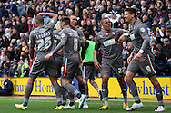 Rotherham United's Alex Revell (9) celebrates with his teammates after scoring his teams 1st goal. Skybet football league one play off semi final, 1st leg match, Preston North End v Rotherham United at the Deepdale Stadium in Preston, England on Saturday 10th May 2014.<br /> pic by Chris Stading, Andrew Orchard sports photography.
