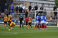 Newport county players look dejected as Portsmouth players celebrate their 1st goal scored by Matt Tubbs. Skybet football league two match, Newport county v Portsmouth at Rodney Parade in Newport, South Wales  on Saturday 17th October 2015.<br /> pic by  Andrew Orchard, Andrew Orchard sports photography.