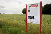 "Roadside sign marking the place where Manfred von Richthofen, the Red Baron was killed by enemy fire at Vaux-sur-Somme in 1918. Manfred Albrecht Freiherr von Richthofen (1892 – 1918), also widely known as the Red Baron, was a German fighter pilot with the Imperial German Army Air Service (Luftstreitkräfte) during World War I. He is considered the top ace of the war, being officially credited with 80 air combat victories.<br /> Richthofen was fatally wounded just after 11:00 am on 21 April 1918, while flying over Morlancourt Ridge, near the Somme River. At the time, the Baron had been pursuing (at very low altitude) a Sopwith Camel piloted by a novice Canadian pilot, Lieutenant Wilfrid ""Wop"" May of No. 209 Squadron, Royal Air Force"