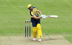James Vince of Hampshire is hit in a delicate area by the ball while batting - Mandatory by-line: Robbie Stephenson/JMP - 19/06/2016 - CRICKET - Cooper Associates County Ground - Taugnton, United Kingdom - Somerset v Hampshire - NatWest T20 Blast