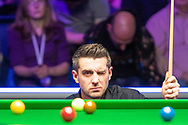 Mark Selby checking every last detail on his way to winning the 2019 World Snooker 19.com Scottish Open Final Mark Selby vs Jack Lisowski at the Emirates Arena, Glasgow, Scotland on 15 December 2019.