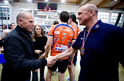 Herman Rigelnik and Coach of ACH Glenn Hoag at last final volleyball match of 1.DOL Radenska Classic between OK ACH Volley and Salonit Anhovo, on April 21, 2009, in Arena SGS Radovljica, Slovenia. ACH Volley won the match 3:0 and became Slovenian Champion. (Photo by Vid Ponikvar / Sportida)