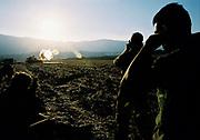 An Israeli artillery unit is firing a shell during The Second Lebanon War. Aug, 2006