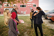 "14 OCTOBER 2020 - KNOXVILLE, IOWA: THERESA GREENFIELD, the Democratic candidate for US Senator from Iowa, (RIGHT) talks to SHARON SMITH and MAX SMITH at Smith Fertilizer and Grain. Greenfield toured Smith Fertilizer and Grain in Marion County and talked to owner Max Smith about her ""Fair Shot for Our Farmers"" plan to improve Iowa's farm economy. Greenfield is in a tight race with incumbent Republican Senator Joni Ernst.     PHOTO BY JACK KURTZ"