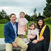 """25.08.2016          <br />  Faculty of Business, Kemmy Business School graduations at the University of Limerick today. <br /> <br /> Attending the conferring was Graduate Diploma in Nursing (Respiratory Care) graduate, Martha Dillon, Crusheen Co. Clare pictured with her family, husband, Sean and children Saoirsre and Cara Dillon. Picture: Alan Place.<br /> <br /> <br /> As the University of Limerick commences four days of conferring ceremonies which will see 2568 students graduate, including 50 PhD graduates, UL President, Professor Don Barry highlighted the continued demand for UL graduates by employers; """"Traditionally UL's Graduate Employment figures trend well above the national average. Despite the challenging environment, UL's graduate employment rate for 2015 primary degree-holders is now 14% higher than the HEA's most recently-available national average figure which is 58% for 2014"""". The survey of UL's 2015 graduates showed that 92% are either employed or pursuing further study."""" Picture: Alan Place"""