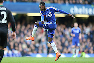 Baba Rahman of Chelsea takes a shot at goal. Barclays Premier league match, Chelsea v Stoke city at Stamford Bridge in London on Saturday 5th March 2016.<br /> pic by John Patrick Fletcher, Andrew Orchard sports photography.