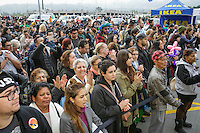 People wait in line to be among the first to enter the new Ikea in Burbank. The new Ikea store comes in at 456,000 sf, compared to the old one at 242,000 sf. And 1,700 parking places.  Feb. 8, 2017  Photo by David Sprague