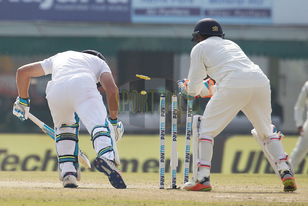 Parthiv Patel of India tries stumping during day 1 of the third test match between India and England held at the Punjab Cricket Association IS Bindra Stadium, Mohali on the 26th November 2016.<br /> <br /> Photo by: Deepak Malik/ BCCI/ SPORTZPICS