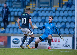 Raith Rovers Lewis Vaughan scoring their second goal. Raith Rovers 2 v 1 Airdrie, Scottish Football League Division One game played 10/2/2018 at Stark's Park, Kirkcaldy.