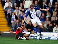 Photo: Richard Lane/Sportsbeat Images.<br />Birmingham City v Manchester United. The FA Barclays Premiership. 29/09/2007. <br />United's Wes Brown tackles City's Gary McSheffrey.