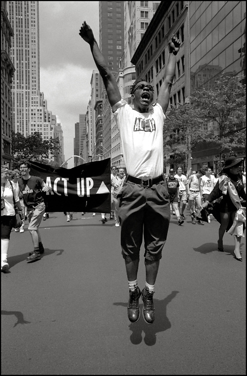Quentel Williams of ACT UP marches in the Gay Pride Parade in New York City in June, 1990.