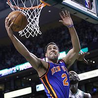 04 March 2012: New York Knicks guard Landry Fields (2) goes for the reverse layup past Boston Celtics power forward Kevin Garnett (5) during the Boston Celtics 115-111 (OT) victory over the New York Knicks at the TD Garden, Boston, Massachusetts, USA.