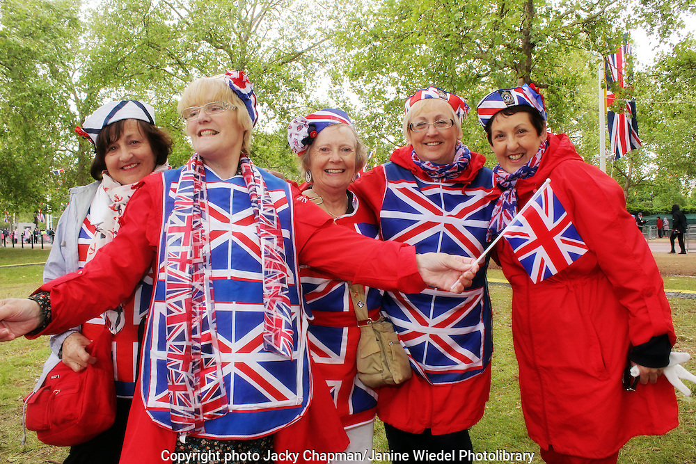 Women dressed with Union Jack flags at Diamond Jubilee Celebrations in London 2012