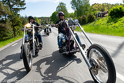 Håkan Nilsson (R) on aTwin Club ride out from the club house in Norrtälje after their annual Custom Bike Show. Sweden. Sunday, June 2, 2019. Photography ©2019 Michael Lichter.