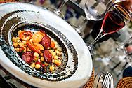 Chickpea salad with chorizo and scallops