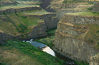 Palouse River flowing through layered basalt flows of the Columbia Plateau Washington