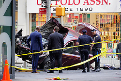 May 18, 2017 - New York, New York, U.S. - Police officers investigate the scene of a car crash in Times Square that took the life of an 18 year-old Michigan girl and injured 22 others. (Credit Image: © Kevin C. Downs/ZUMA Wire/ZUMAPRESS.com)