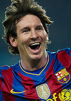 BARCELONA, SPAIN - MARCH 14:  Lionel Messi of FC Barcelona celebrates after scoring during the La Liga match between Barcelona and Valencia at the Camp Nou Stadium on March 14, 2010 in Barcelona, Spain.  (Photo by Manuel Queimadelos Alonso/Getty Images) *** Local Caption *** Lionel Messi