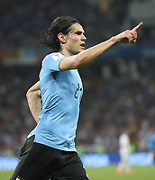 WM 2018, Uruguay - Portugal (180630) -- SOCHI, June 30, 2018 -- Edinson Cavani of Uruguay celebrates scoring during the 2018 FIFA World Cup WM Weltmeisterschaft Fussball round of 16 match between Uruguay and Portugal in Sochi, Russia, June 30, 2018. ) (SP)RUSSIA-SOCHI-2018 WORLD CUP-ROUND OF 16-URUGUAY VS PORTUGAL FeixMaohua PUBLICATIONxNOTxINxCHN