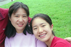 Portrait of mother and daughter,