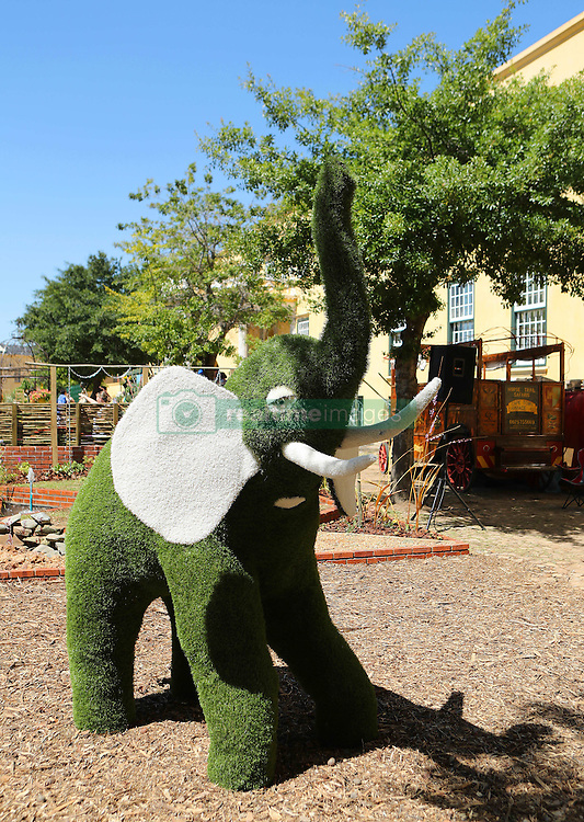 Grass sculpture of an elephant during the Cape Town Flower Show held at the Castle of Good Hope between the 27th and the 30th October 2016.<br /> <br /> Photo by Ron Gaunt/ RealTime Images