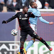 NEW YORK, NEW YORK - March 12:  Patrick Nyarko #12 of D.C. United and Maxime Chanot #4 of New York City FC challenge for the ball during the NYCFC Vs D.C. United regular season MLS game at Yankee Stadium on March 12, 2017 in New York City. (Photo by Tim Clayton/Corbis via Getty Images)