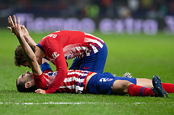 November 10, 2018 - Madrid, Madrid, Spain - Diego Godin and Antoine Griezmann of Atletico de Madrid during La Liga football match between Atletico de Madrid and Athletic de Bilbao played at the Wanda Metropolitano Stadium in Madrid, on November 10th 2018 (Credit Image: © AFP7 via ZUMA Wire)