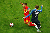 SAINT PETERSBURG, RUSSIA - JULY 10: Antoine Griezmann (R) of France national team and Eden Hazard of Belgium national team vie for the ball during the 2018 FIFA World Cup Russia Semi Final match between France and Belgium at Saint Petersburg Stadium on July 10, 2018 in Saint Petersburg, Russia. MB Media