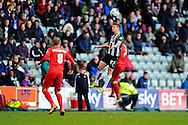 Plymouth Argyle's Craig Tanner heads the ball during the Sky Bet League 2 match between Plymouth Argyle and York City at Home Park, Plymouth, England on 28 March 2016. Photo by Graham Hunt.