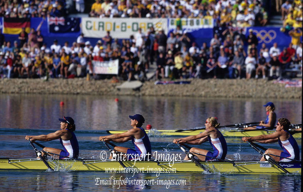 Sydney, AUSTRALIA, GBR W4X after winning the bronze medal,  at the 2000 Olympic Regatta, Penrith Lakes. [Photo Peter Spurrier/Intersport Images]  [right to left] BATTEN, Guin, LINDSAY, Gillian Anne, GRAINGER, Katherine.BATTEN, Miriam. Rowing Course: Penrith Lakes, NSW 2000 Olympic Regatta Sydney International Regatta Centre (SIRC) 2000 Olympic Rowing Regatta00085138.tif