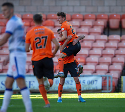 Dundee United's Logan Chalmers celebrates after scoring their sixth goal. Dundee United 6 v 0 Morton, Scottish Championship game played 28/9/2019 at Dundee United's stadium Tannadice Park.