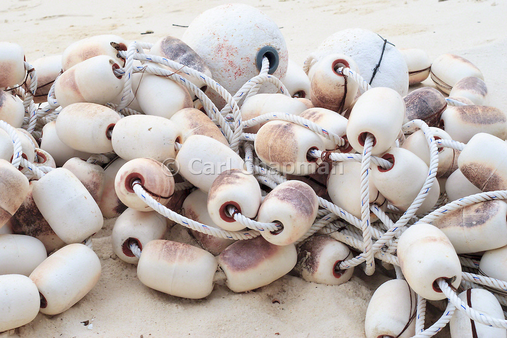 Buoys for fishing net on beach - Pulau Redang, Malaysia <br /> <br /> Editions:- Open Edition Print / Stock Image