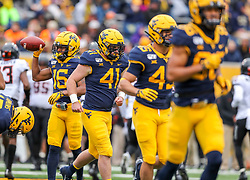 Nov 23, 2019; Morgantown, WV, USA; West Virginia Mountaineers tight end Elijah Drummond (41) runs on the field during the third quarter against the Oklahoma State Cowboys at Mountaineer Field at Milan Puskar Stadium. Mandatory Credit: Ben Queen-USA TODAY Sports