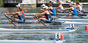 Poznan, POLAND, 21st June 2019, Friday, Morning Heats, USA. W2X -/1 (b) MADDEN Cicely and (s) STONE Genevra, FISA World Rowing Cup II, Malta Lake Course, © Peter SPURRIER/Intersport Images,<br /> <br /> 10:34:08