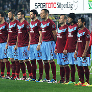 Trabzonspor's players (Left to Right) goalkeeper Tolga Zengin, Halil Altintop, Marek Cech, Remzi Giray Kacar, Ondrej Celustka, Aykut Akgun, Arkadiusz Glowacki, Serkan Balci, Gustavo Colman, Alan Carlos Gomes Da Costa, Burak Yilmaz during their Turkish superleague soccer derby match Fenerbahce between Trabzonspor at the Sukru Saracaoglu stadium in Istanbul Turkey on Sunday 18 December 2011. Photo by TURKPIX