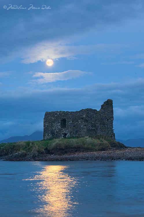 Full Moon light over McCarthy Castle, Ballinskelligs Co. Kerry, Ireland