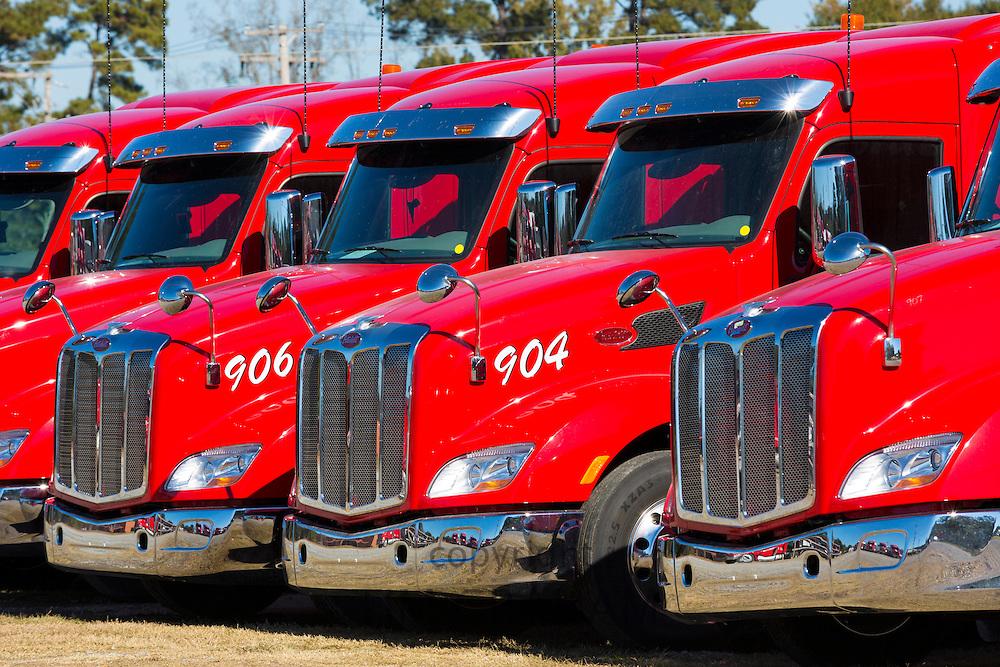 Engines and cabs of Peterbilt trucks used for Jordans Haulage, Natchez, Mississippi, USA
