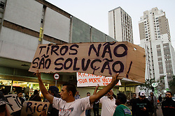 July 13, 2017 - Sao Paulo, Brazil - Protesters make an act against the death of paper picker, Ricardo Silva Nascimento, 38, in Sao Paulo, Brazil, on 13 July 2017. The cartwright who lived in Pinheiros was killed with two shots by a military police officer, after a supposed approach on the night of this Wednesday (12) (Credit Image: © Fotorua/NurPhoto via ZUMA Press)