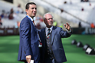 David Gold, West Ham United Co-Owner (r) talking to Mark Isaac, member of the West Ham United media team before k/o.Premier league match, West Ham Utd v AFC Bournemouth at the London Stadium, Queen Elizabeth Olympic Park in London on Sunday 21st August 2016.<br /> pic by John Patrick Fletcher, Andrew Orchard sports photography.